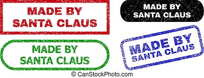 MADE BY SANTA CLAUS Rectangle Seals with Grunge Style
