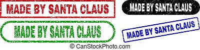 MADE BY SANTA CLAUS Rectangle Stamps Using Rubber Surface