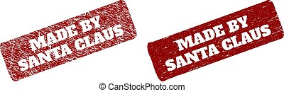MADE BY SANTA CLAUS Red Rounded Rough Rectangular Stamp Seal with Distress Surfaces