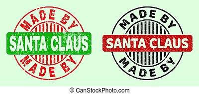 MADE BY SANTA CLAUS Round Bicolour Stamps - Corroded Surface
