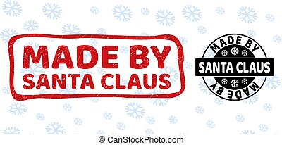 Made by Santa Claus Scratched and Clean Stamp Seals for New Year