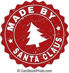 MADE BY SANTA CLAUS Scratched Stamp Seal with Fir-Tree