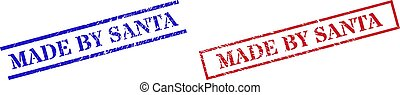 MADE BY SANTA Grunge Rubber Stamp Watermarks with Rectangle Frame