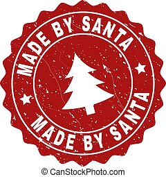 MADE BY SANTA Grunge Stamp Seal with Fir-Tree