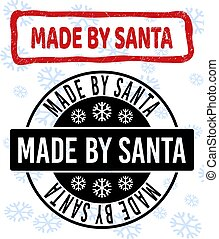 Made by Santa Scratched and Clean Stamp Seals for New Year
