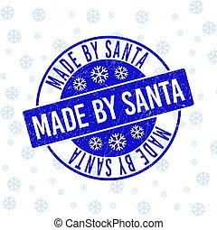 Made by Santa Scratched Round Stamp Seal for Christmas