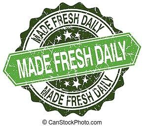 made fresh daily green round retro style grunge seal