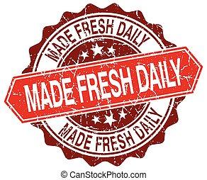 made fresh daily red round grunge stamp on white