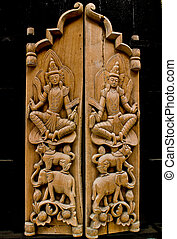 made from wood, wood carving decorated at windows of the temple,