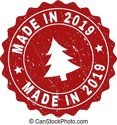 MADE IN 2019 Grunge Stamp Seal with Fir-Tree