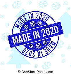 Made in 2020 Scratched Round Stamp Seal for Christmas