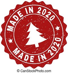 MADE IN 2020 Scratched Stamp Seal with Fir-Tree
