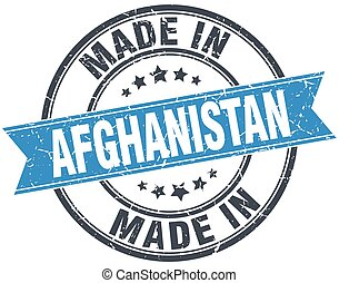 made in Afghanistan blue round vintage stamp