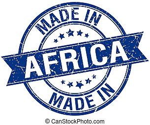 made in Africa blue round vintage stamp