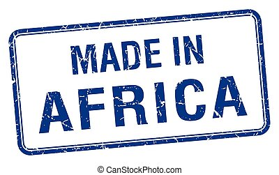 made in Africa blue square isolated stamp