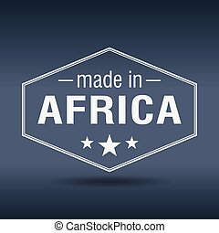 made in Africa hexagonal white vintage label