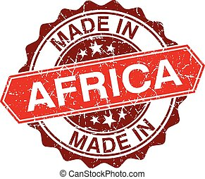 made in Africa red stamp isolated on white background