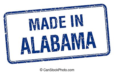 made in Alabama blue square isolated stamp