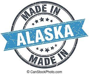 made in Alaska blue round vintage stamp