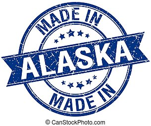 made in Alaska blue round vintage stamp