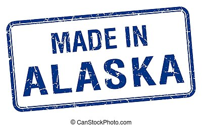 made in Alaska blue square isolated stamp