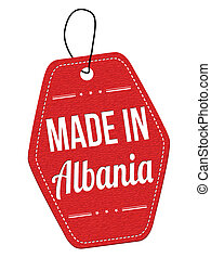 Made in Albania red leather label or price tag on white...