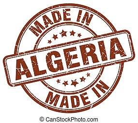 made in Algeria brown grunge round stamp