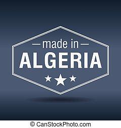 made in Algeria hexagonal white vintage label