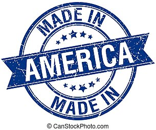 made in America blue round vintage stamp
