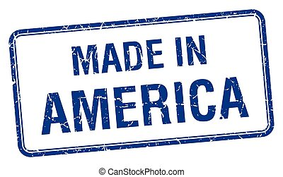 made in America blue square isolated stamp
