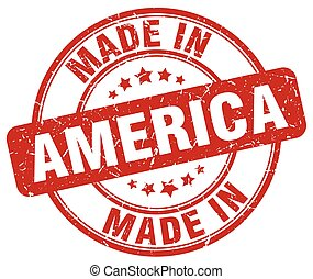 made in America red grunge round stamp