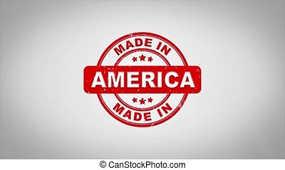 Made In America Signed Stamping Text Wooden Stamp Animation. Red Ink on Clean White Paper Surface Background with Green matte Background Included.