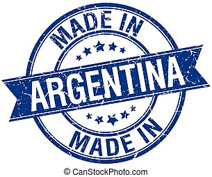 made in Argentina blue round vintage stamp
