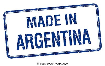made in Argentina blue square isolated stamp