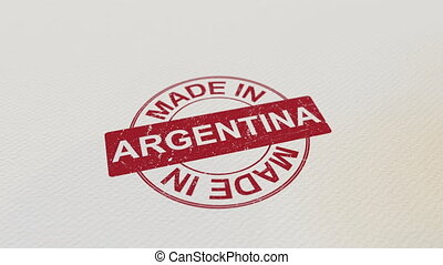 MADE IN ARGENTINA wooden stamp conceptual animation. Alpha...