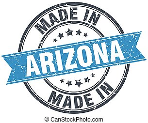 made in Arizona blue round vintage stamp
