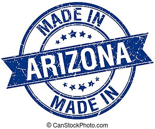 made in Arizona blue round vintage stamp