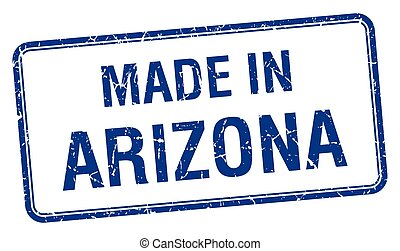 made in Arizona blue square isolated stamp