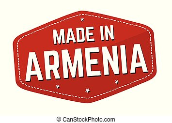 Made in Armenia label or sticker on white background, vector...