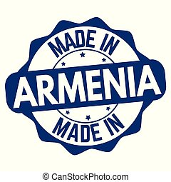 Made in Armenia sign or stamp on white background, vector...