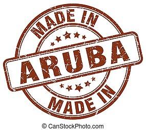 made in Aruba brown grunge round stamp