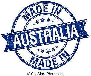 made in Australia blue round vintage stamp