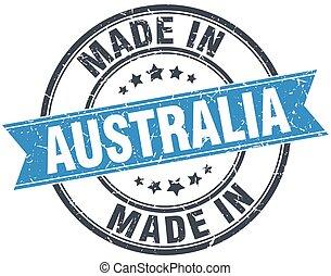 made in Australia blue round vintage stamp