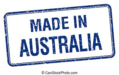made in Australia blue square isolated stamp