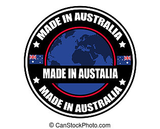 Made in Australia label, vector illustration