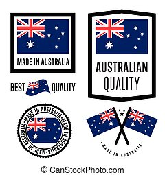 Made in Australia label set. Vector Australia flag. Symbol of quality. Manufacturing by Australia. Tags and sticker collection. Vintage and modern stamp.