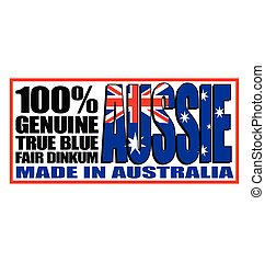genuine true blue fair dinkum aussie made in australia logo sign sticker vector