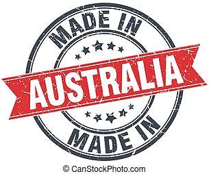 made in Australia red round vintage stamp