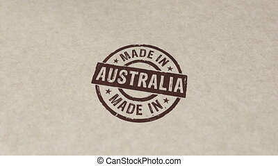 Made in Australia stamp and stamping animation