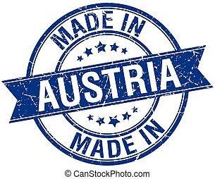 made in Austria blue round vintage stamp